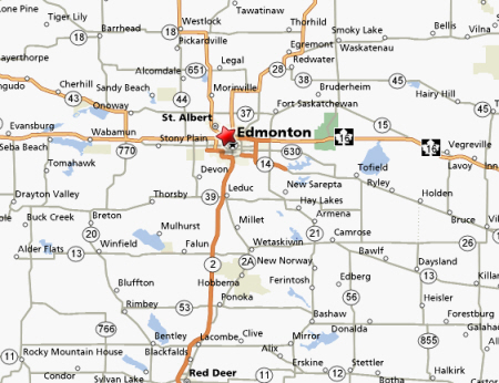 Map of Edmonton Region, Alberta, Canada